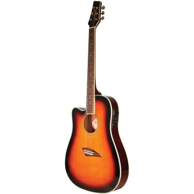 Kona K2LTSB Left Handed Thin Body Acoustic Electric Guitar, Sunburst for sale