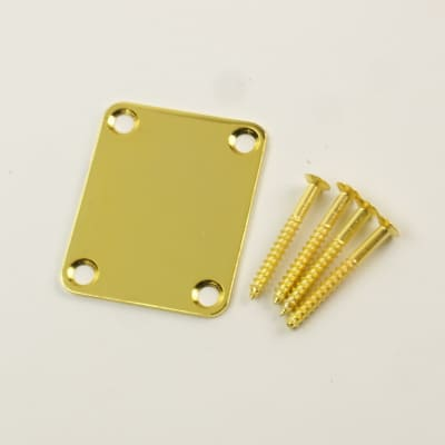 Replacement Metal Neck Plate For bolt-on neck Guitars ,w/4 Screws ,Gold Plated