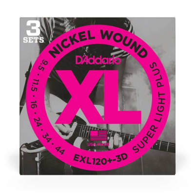 D'Addario Xl Nickel Wound Electric Guitar Strings, Super Light Plus, 3 Pack