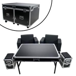 OSP ATA-GR-SET1-BLK Green Room Furniture Set with Black Cushions