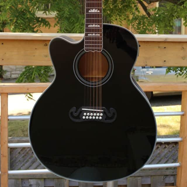Fishbone's  Byron Series Acoustic Piezo Electric Jumbo 12 String BLK200-SC-12 Lefty Black image