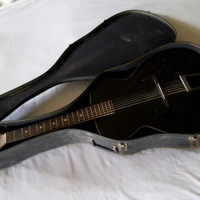 VINTAGE F-HOLE ARCHTOP KAY HARMONY AIRLINE SILVERTONE 1 1930's Black for sale