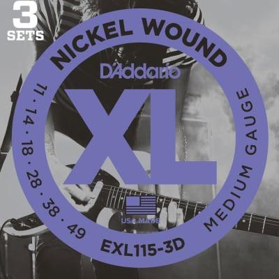 D'Addario EXL115-3D XL Nickel Wound Electric Guitar Strings - Medium/Blues-Jazz Rock, 11-49, 3 Pack for sale