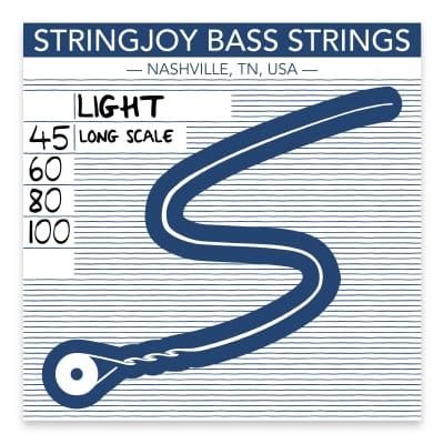 Stringjoy Light Gauge (45-100) 4 String Long Scale Nickel Wound Bass Guitar Strings