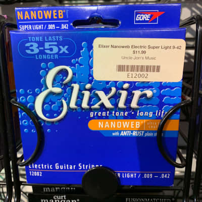 Elixir 12002 Nanoweb Nickel Plated Steel Electric Guitar Strings - Super Light (9-42)