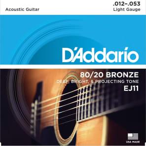 D'Addario EJ11 80/20 Bronze Light Acoustic Guitar Strings, .012 - .053
