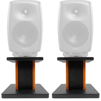"Rockville 8"" Wood Studio Monitor Speaker Stands For Genelec 8050B Monitors"