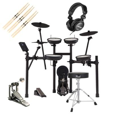 Roland TD-07KV V-Drums Electronic Drum, GP D719 Pedal, Pearl D-50 Chair, Tascam TH02, (3) Drum Sticks Bundle