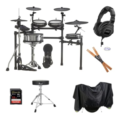 Roland TD-27KV V-Drums Kit - Pearl Throne D50 - Sennheiser HD300 - Drum Sticks - Drum Set Dust Cover - SD Card 32GB