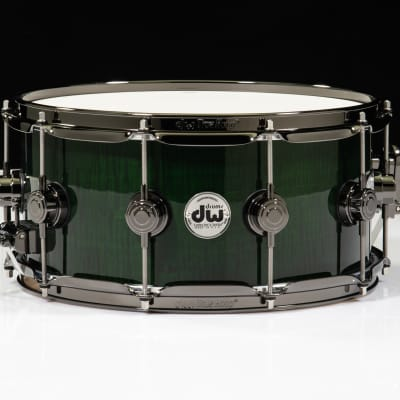 DW Collector's 6x14 Maple VLT Snare - Exotic Emerald over Curly Maple