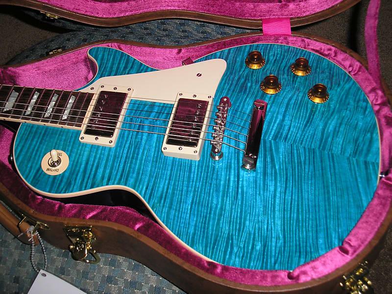 2016 Gibson Les Paul Custom Pro Aqua Blue Flametop Mint w | Reverb