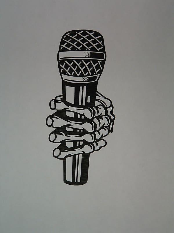 Microphone Held By Skeleton Hand Vinyl Decal Pick