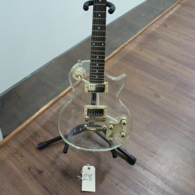 Galveston Clear Acrylic LP Electric Guitar Gold with Gig Bag for sale