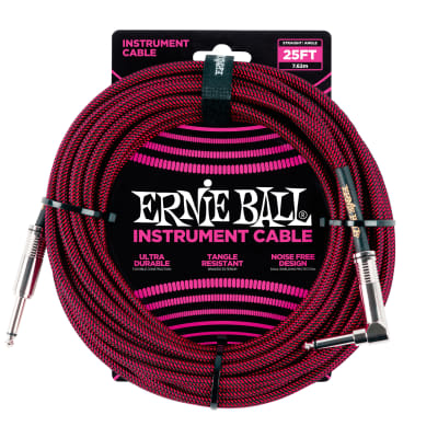 Ernie Ball 25' Braided Straight / Angle Instrument Cable, Black / Red for sale