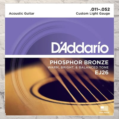 D'Addario EJ26 Custom Light Phosphor Bronze Acoustic Strings 11-52