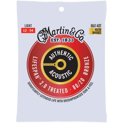 Martin MA140T Authentic Acoustic Treated Lifespan 80/20 Bronze Acoustic Strings, Light Gauge 12-54
