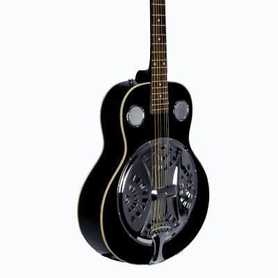 De Rosa DBI-8-VSB-BK Laminated Spruce Top Maple Neck 6-String Resonator Acoustic Guitar -  Black for sale