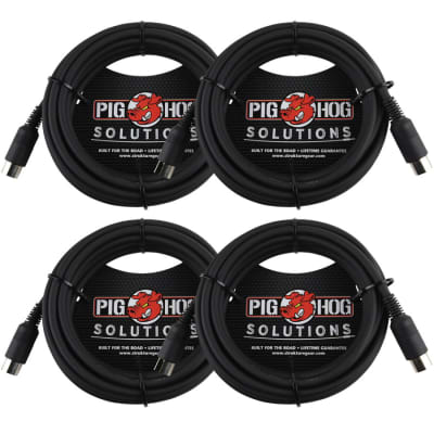 4 Pack Pig Hog Solutions PMID15 - 15ft MIDI Cable Black Instrument Interface - New