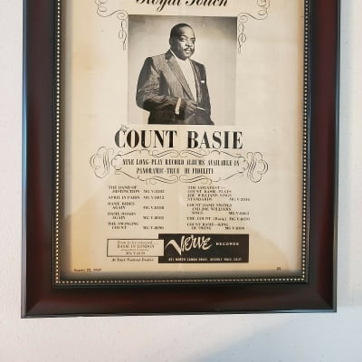 1957 Verve Records Promotional Ad Framed Count Basie Original