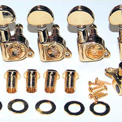 Guitar Parts WILKINSON MINI BUTTON 19:1 Ratio - 6 In Line - TUNERS SET - Gold