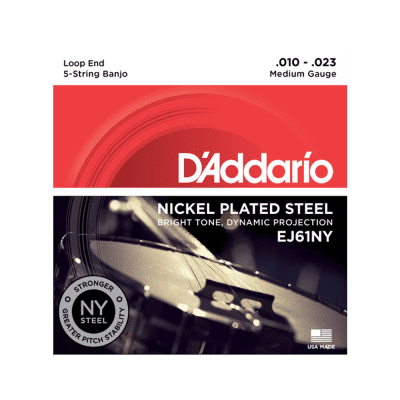 D'Addario EJ61 5-String Banjo, Nickel, Medium, 10-23