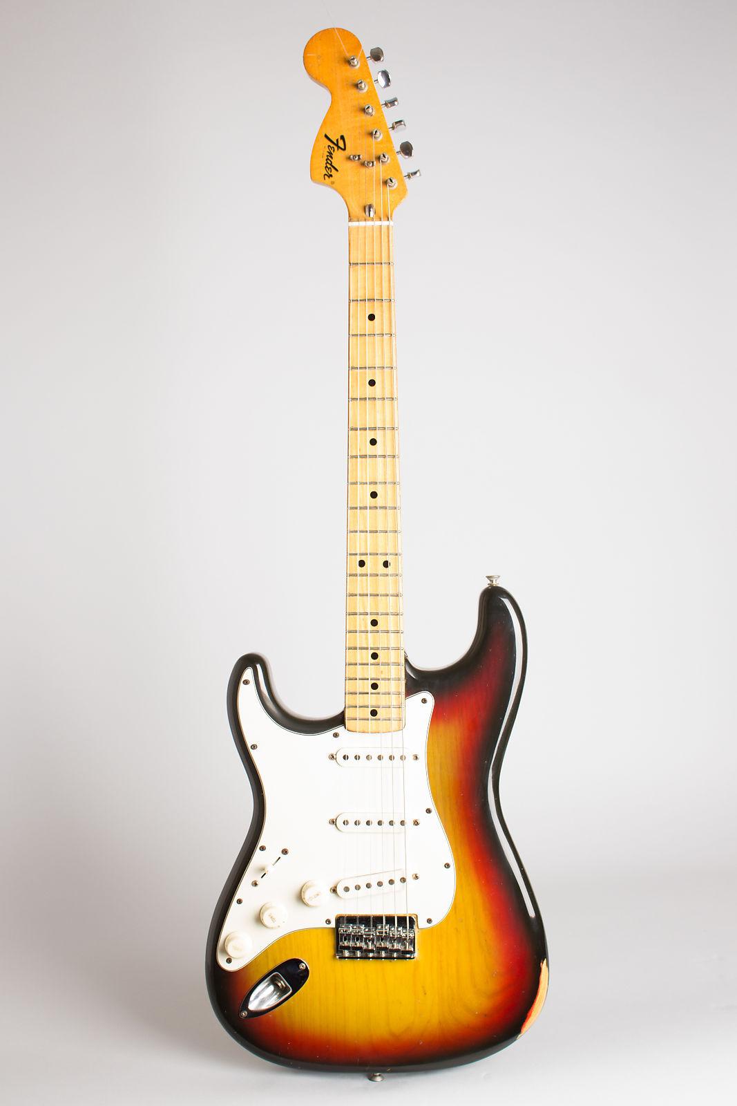Fender  Stratocaster Solid Body Electric Guitar (1975), ser. #657648, black tolex hard shell case.