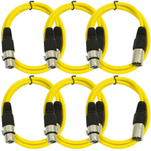 Seismic Audio SAXLX-2YELLOW6 XLR Male to XLR Female Patch Cable - 2' (6-Pack)