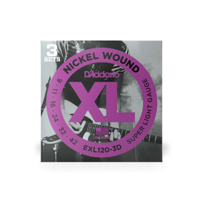 D'Addario EXL120-3D Nickel Wound Electric Guitar Strings, Super Light, 09-42, 3 Sets