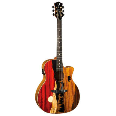 Luna Guitars Vista Bear Tropical Wood Acoustic-Electric Guitar w/ Case for sale