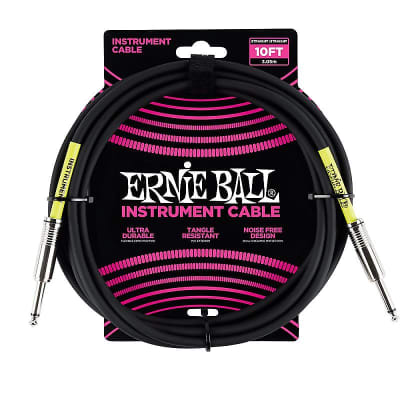Ernie Ball 10' Straight/Straight Instrument Cable - Black