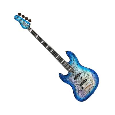 Spear SAJ-250 Cameleon Blue Hologram Top 4-Strings Jazz Bass Left Handed Lefty for sale