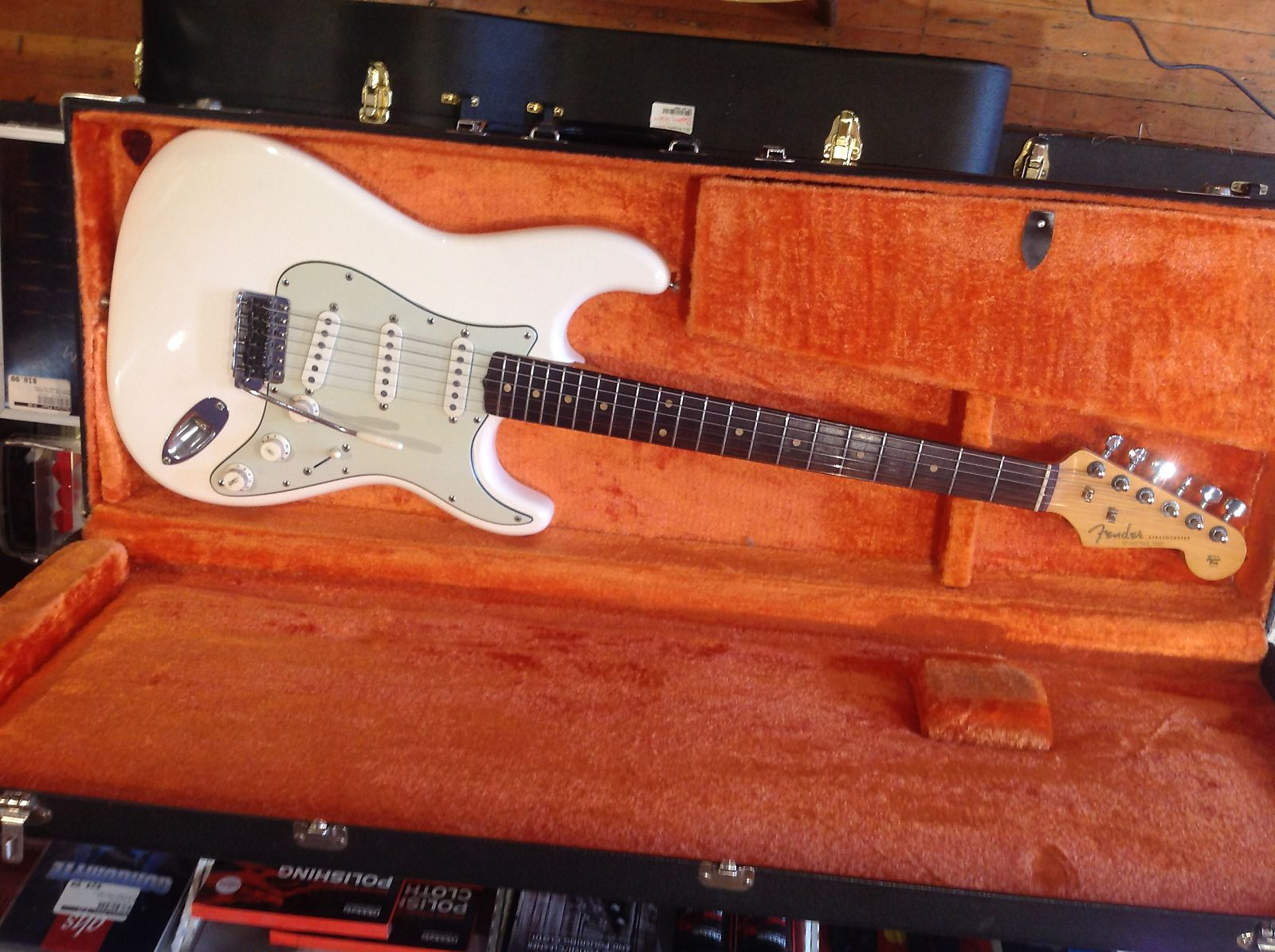 Fender stratocaster with slab fretboard white refin 1962 reverb publicscrutiny Gallery