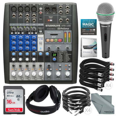 PreSonus StudioLive AR8 USB 8-Channel hybrid Performance and Recording Mixer and Deluxe Bundle w/ Samson Q6 Mic + Stereo Headphones + 16GB + More
