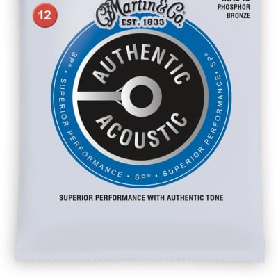 Martin Authentic Acoustic Phosphor Bronze Acoustic Guitar Strings - 12-54
