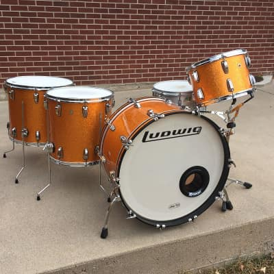 Ludwig LEGACY Maple Kit Hard to Find Color Gold Sparkle 24, 13, 16, 18 - NO snare or stands