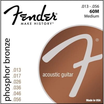 Fender 60M Phosphor Bronze Wound Ball End Strings 13-56 for sale