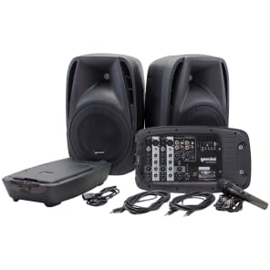 Gemini ES210MXBLU Portable PA System with Speakers, Mixer, Microphone, Cables