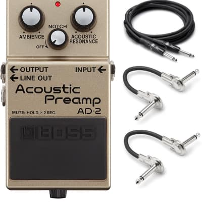 New Boss AD-2 Acoustic Preamp Guitar Effects Pedal w/ Hosa Patches