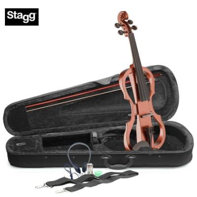 Stagg EVN-X-4/4-VBR Silent Violin Set w/ Case, Headphones