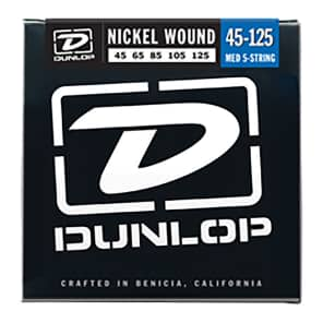 Dunlop DBN45125 Nickel-Wound Stainless Steel 5-String Bass Strings (45-125)