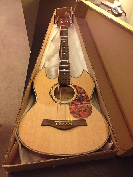 double cutaway thin body sg style acoustic electric guitar reverb