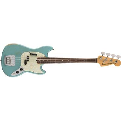Fender JMJ Justin Meldal-Johnsen Road Worn Mustang Bass Daphne Blue w/ Gig Bag