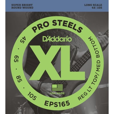 D'Addario EPS165 ProSteels Bass, Custom Light, 45-105, Long Scale Strings