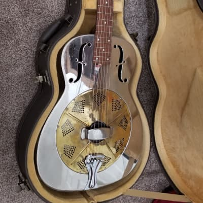 1935 National Duolian Resonator Guitar, Round Neck, Rolled F Holes,  with hard case for sale