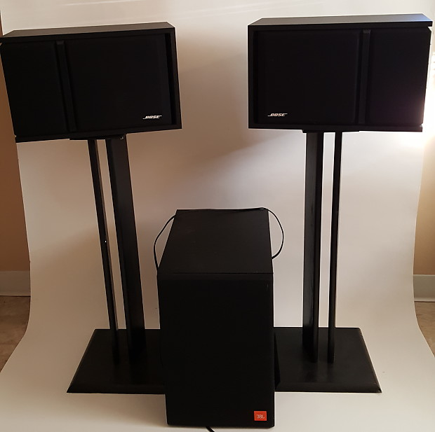 Bose 301 Series III 1991 Black Speakers Stands JBL Subwoofer