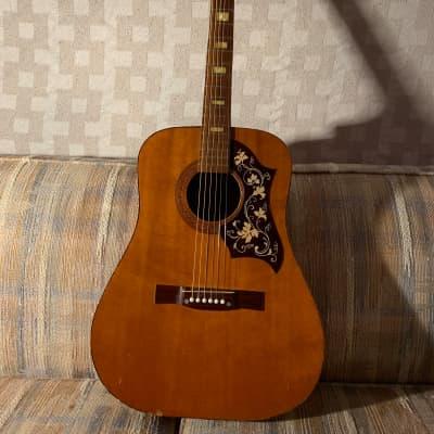Tempo Acoustic Guitar Floral Design  1970s  Natural for sale
