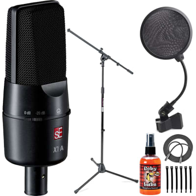 sE Electronics X1-A Large Condenser Microphone and Clip + Pop Filter + Boom Mic Stand + Mic Cable
