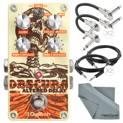 DigiTech Obscura Altered Delay Pedal and Deluxe Accessory Bundle with 4X Cables + Fibertiqu Cloth