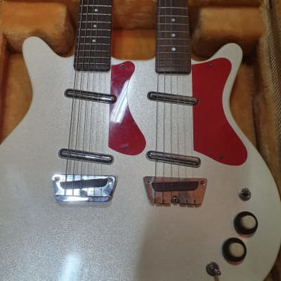 Danelectro Danelectro Double Neck 6/6 Baritone & Regular 1990s white pearl / red for sale