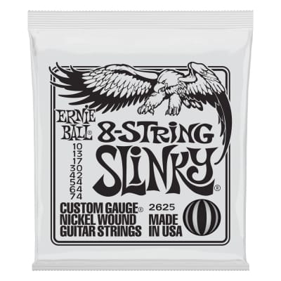 Ernie Ball 8-String Slinky Electric Nickel Wound Gauges .010 .013 .017 .030 .042 .042 .054 .064 .074